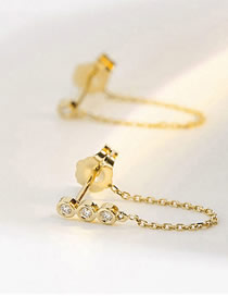 Fashion Gold Stainless Steel Inlay Zircon Chain Tassel Earrings