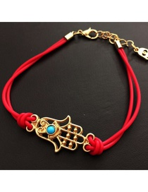 Fashion Red Alloy Eye Palm Braided Bracelet
