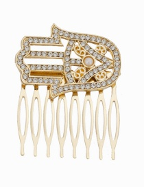 Fashion Gold Alloy Palm-studded Hair Comb