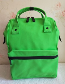 Fashion Green Pu Rubber Waterproof Backpack