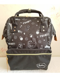 Fashion Black Big Bear Doodle Waterproof Oxford Cloth Backpack