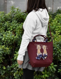 Fashion Red Wine Bow Three-shoulder Diagonal Shoulder Bag