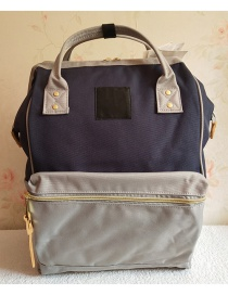 Fashion Dark Blue Gray Color Matching Portable Backpack