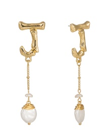 Fashion Pure White Flat Pearl Letter Natural Broken Shell Flat Pearl Earrings