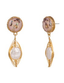 Fashion Gold Shaped Pure Natural Freshwater Pearl Earrings