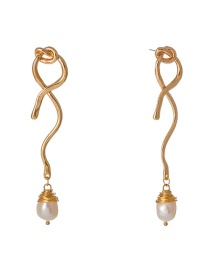 Fashion Gold Knotted Shaped Natural Freshwater Pearl Earrings