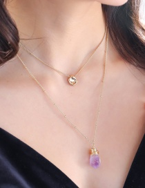 Fashion Gold 18k Gold Tag Natural Stone Multi-layer Necklace