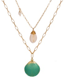 Fashion Gold Green Lacquer Metal Scallop Freshwater Pearl Multi-layer Necklace