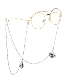 Fashion Silver Metal Eye With Non-slip Glasses Chain
