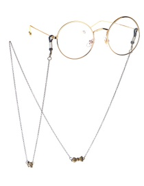 Fashion Bronze Non-slip Metal Smiley Face Faded Glasses Chain