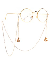 Fashion Gold Metal Shell Pearl Glasses Chain