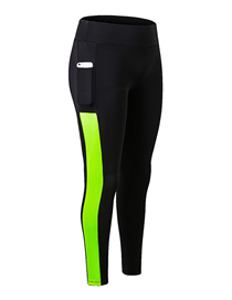 Fashion Black Green Stretch Quick-drying Wicking Trousers