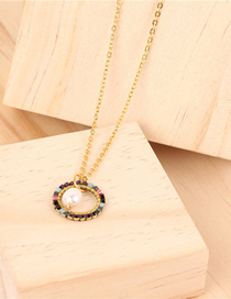 Fashion Gold Rice Beads Woven Round Pearl Stainless Steel Necklace