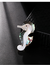 Fashion Color Alloy Resin Shell Hippocampus Brooch