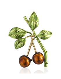 Fashion Brown Alloy Dripping Cherry Brooch