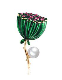 Fashion Green Alloy Pearl Drop Oil Lotus Brooch