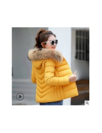 Fashion Yellow Short Large Collar Cotton Jacket