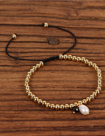 Fashion Gold Shaped Pearl 4mm Copper Bead Adjustable Bracelet