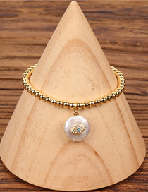 Fashion Gold Pearl Copper Plated Gold Solid Beads Micro Inlaid Zircon Bracelet