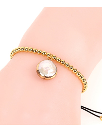 Fashion Gold Braided 4mm Copper Bead Shaped Pearl Bracelet