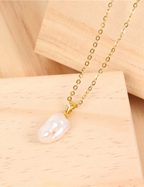 Fashion Gold Shaped Natural Pearl Stainless Steel Plated Necklace