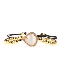 Fashion Gold Imitation Opal Droplet Crystal Solid Copper Gold Bead Braided Bracelet