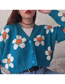 Fashion Blue Sun Flower Cardigan
