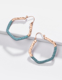 Fashion Blue Alloy Embossed Concave And Convex Surface Geometric Paint Contrast Color Earrings