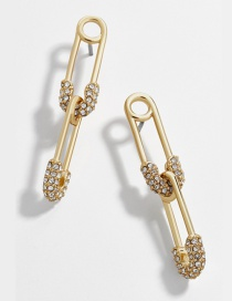 Fashion Gold Alloy Paper Clip Gemstone Drill Earrings