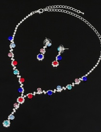 Fashion Color Diamond Necklace Earring Set