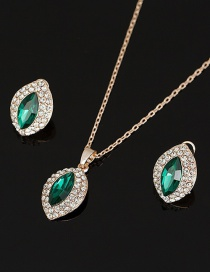 Fashion Green Necklace Earrings Set