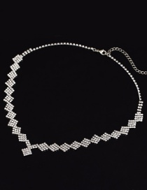 Fashion White Square Diamond Necklace