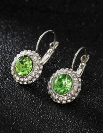 Fashion Silver + Light Green Diamond Round Stud Earrings