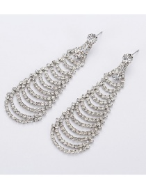 Fashion Silver Studded Tassel Earrings