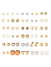 Fashion Gold Bow Pearl Stud Earrings 30 Pairs