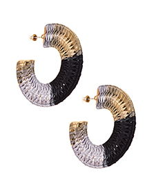 Fashion Black-brown Alloy Straw Semicircular Stud Earrings