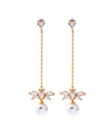 Fashion Gold 925 Sterling Silver Pearl Stud Earrings