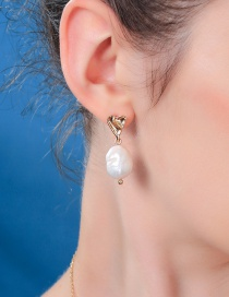 Fashion Natural Pearl Gold S925 Sterling Silver Pearl Stud Earrings
