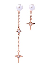 Fashion Rose Gold 925 Sterling Silver Pearl Stud Earrings