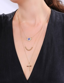Fashion Gold Multilayer Eye Cross Geometry Necklace