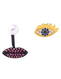 Fashion Black + Gold 925 Sterling Silver Diamond Eye Pearl Earrings