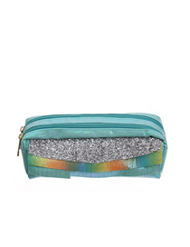 Fashion Green Lines Double Zipper Fringed Scales Laser Clutch
