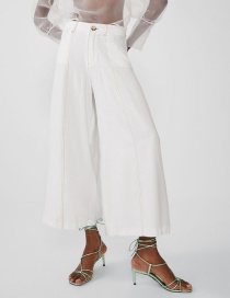 Fashion White Bright Line And Bare Pants