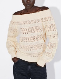 Fashion Cream Color Off-the-shoulder Textured Top