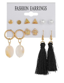 Fashion Gold Crown Natural Shell Pearl Tassel Earrings 6 Pairs