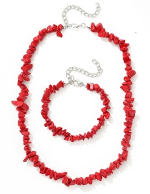 Fashion Red Natural Turquoise Necklace Bracelet Set