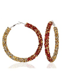 Fashion Red Plus Gold Large Circle Micro-studded Earrings