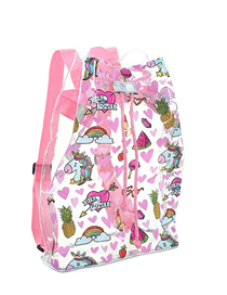 Fashion Light Pink Transparent Cartoon Pvc Beam Backpack