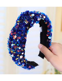 Fashion Royal Blue Knotted Sequined Fish Scale Headband