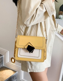 Fashion Yellow Contrast Stitching Square Buckle Chain Shoulder Messenger Bag